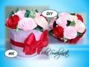 Подарочный горшочек с цветами из лент 1,2см/Мк розы/Подарок на 8 марта/DIY