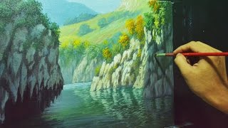 Acrylic Landscape Painting Lesson - Rocky Cliffs and River by JMLisondra
