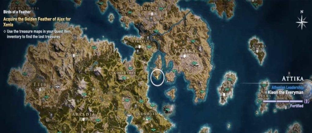 Золотое перо Аякса карта нахождения Assassin's Creed Odyssey