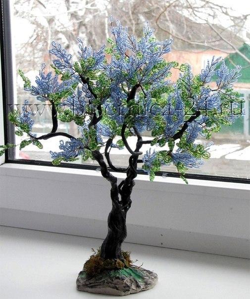 Деревья и цветы из бисера!
