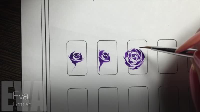 Роспись ногтей! Роза!