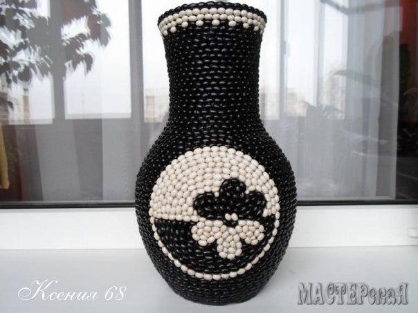 Декорируем вазу фасолью
