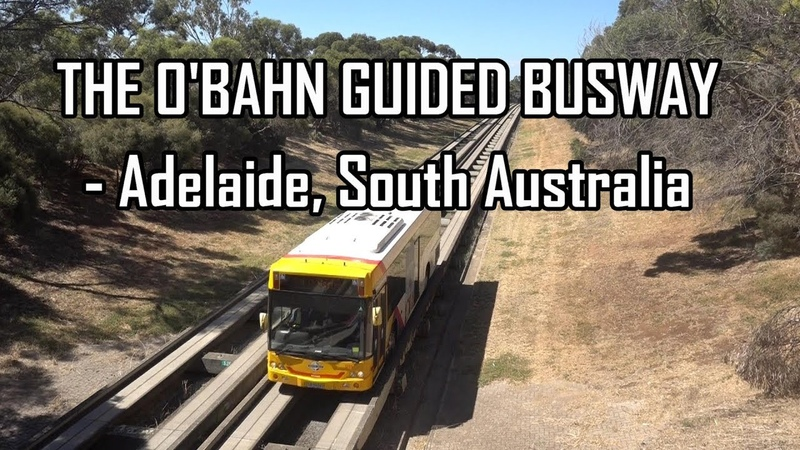 Crazy Concrete BUS thinks it's a TRAIN! O'Bahn track guided Busway, Adelaide South Australia