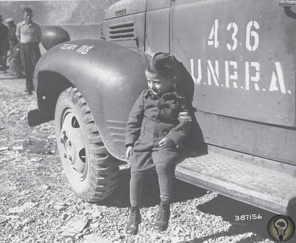Самый юный выживший узник Бухенвальда, четырёхлетний польский еврей Джозеф Шлайфстайн сразу после освобождения
