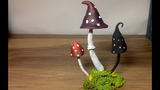 How To Make a Fantasy Mushroom ,Polymer Clay toadstool ,Fairy Garden Ornament