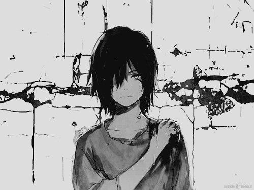 чорно белые картинки аниме: