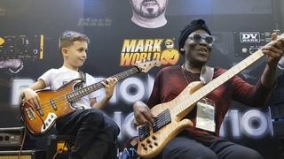 8 year old bass phenom, Áron Hodek jams with Richard Bona at 2019 NAMM