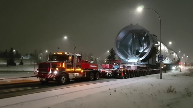 Massive petrochemical splitter being transported in Edmonton, Alberta