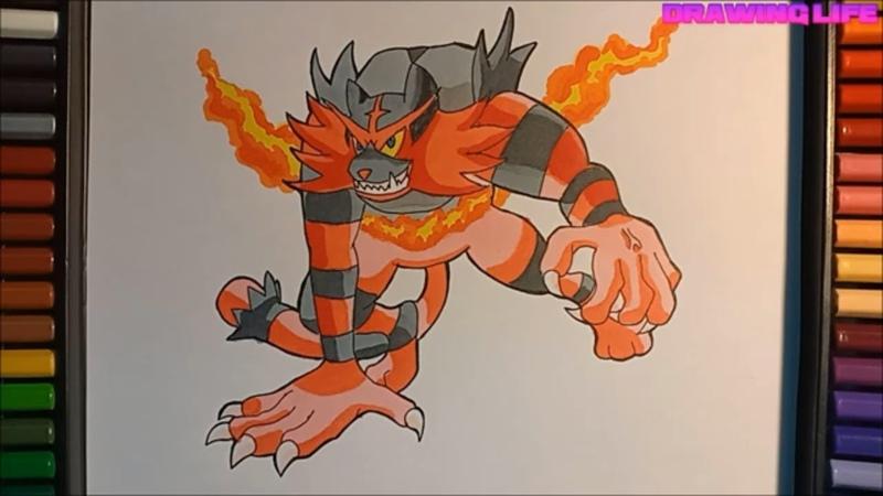 Cách vẽ pokemon hệ lửa Incineroar-bảo bối thần kỳ