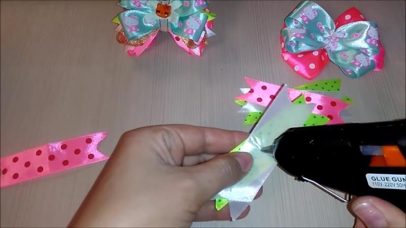 Американские бантики из лент Hello Kitty МК Канзаши American ribbon bows Hello Kitty MK Kanzashi