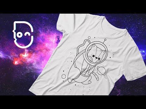 Cat in Space T shirt design