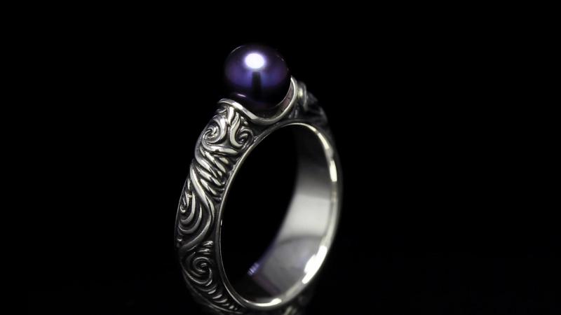 Серебряное кольцо с жемчугом Королева ночи