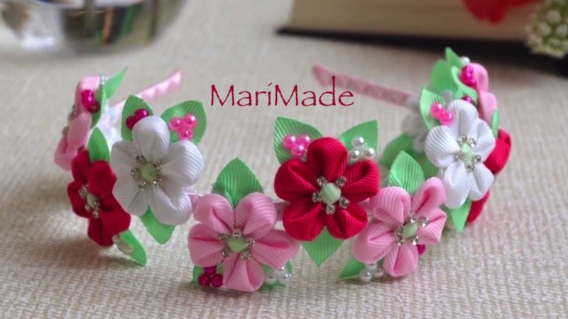 Канзаши Ободок Цветы из Ленты МК Kanzashi Flower Flores Headband カンザシ