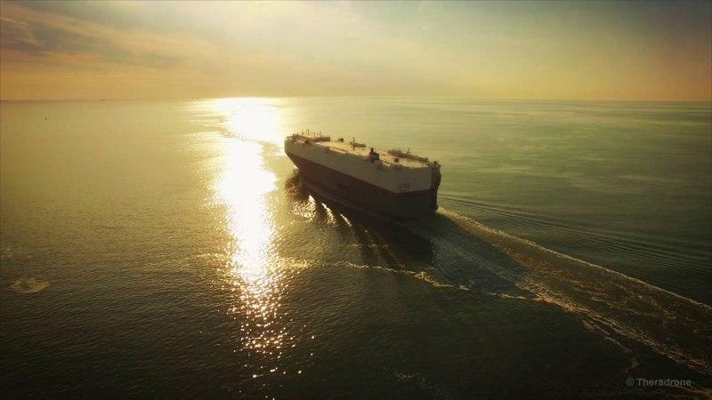 Vehicle Carrier Leo Spirit at Sea (4K)