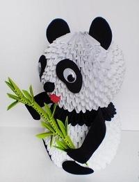 Оригами из модулей схемы панда.