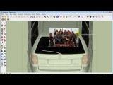Как привязать баннер к стеклу автомобиля в Sketchup