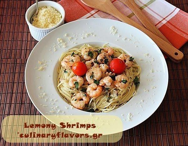 Спагетти с лимонными креветками