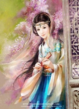 Флориссия.  Опубликовал.  Красивая китаянка с веером. девушки.