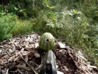 Выстрел в арбуз из травматического пистолета streamer 2014