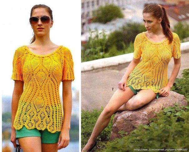 Желтый пуловер крючком. Схема. (4 фото) - картинка