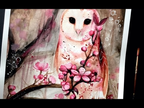 Watercolor speed painting Owl