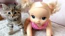 КУКЛА И ТРИ КОТЁНКА Пупсик Девочка Беби Элайв Играет Маленькие Котята Мультик для детей
