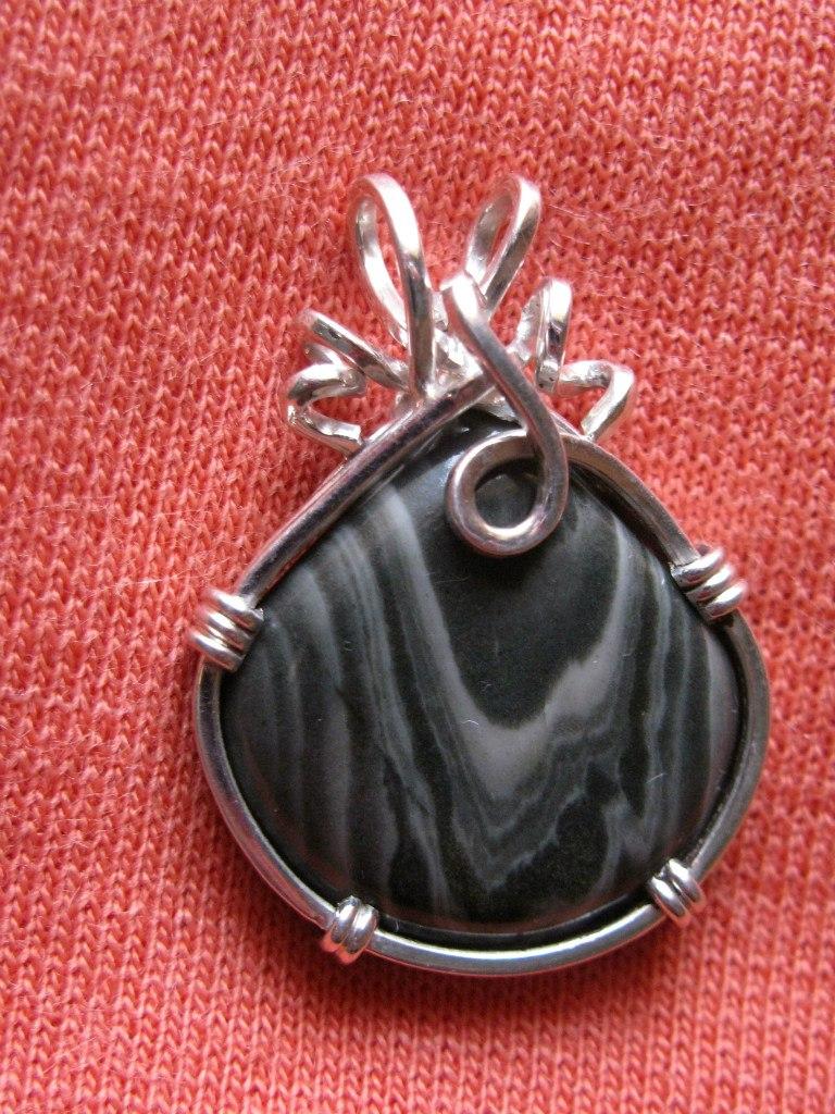 Серебро+ревневская яшма. Кулончик
