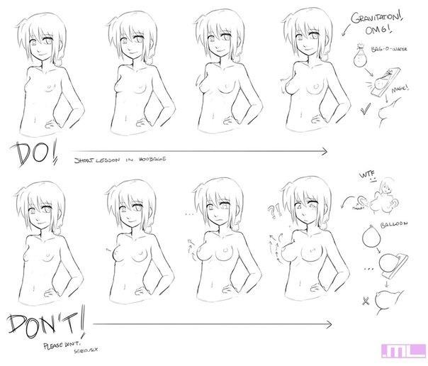 как рисовать аниме грудь: