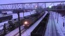 Тепловоз 2ТЭ10М с грузовым поездом на станции Уршак