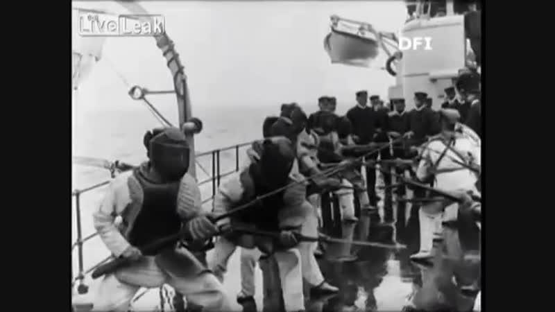 1910 Danish Bayonet _ Sabre Fencing–Danish Naval Ship Herluf Trolle