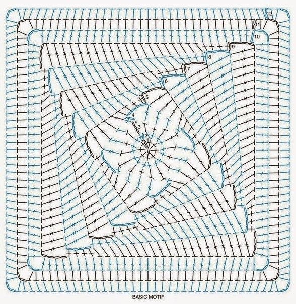Вяжем крючком мотивы со схемами