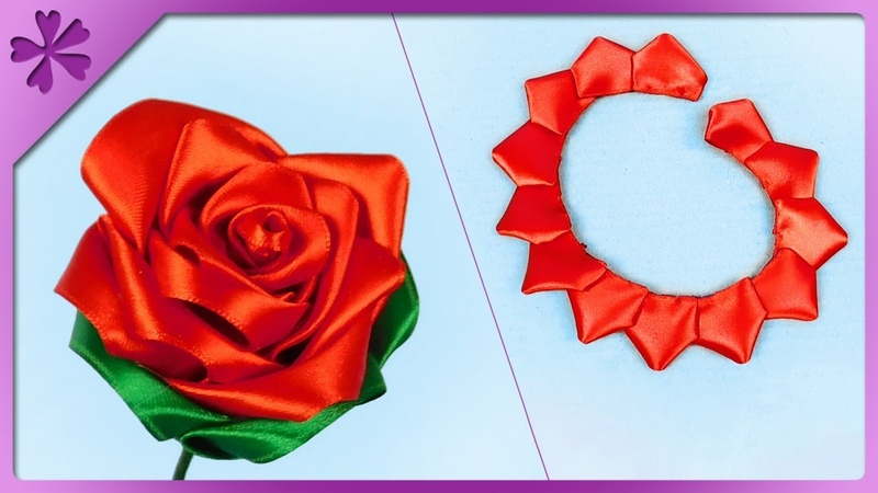 DIY How to make kanzashi ribbon rose (ENG Subtitles) - Speed up 473