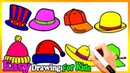 How To Draw 8 Children's Hats Coloring Pags | Painting For Toddlers And Drawing For Kids 257