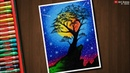 Colourful Night Sky drawing with Oil Pastels - step by step