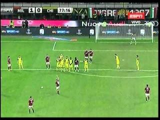 Keisuke Honda Free kick Goal Ac Milan vs Chievo 2-0 Serie A 2014