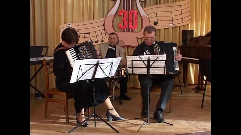 Лариса Кожушко,Геннадий Дружин,Евгений Гречан на юбилее в Школе искусств.(Горловка)