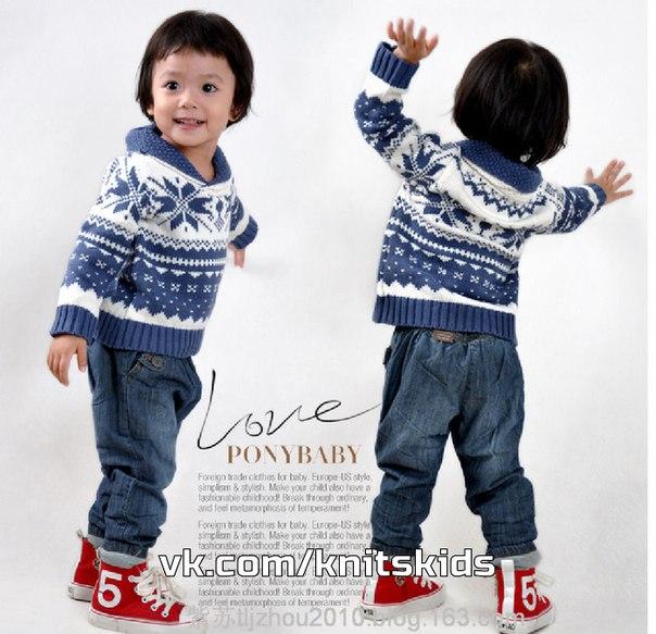 Жаккардовые джемперы для мальчика Снежинки…. (8 фото)