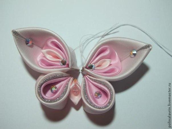 Бабочки из атласных лент видео