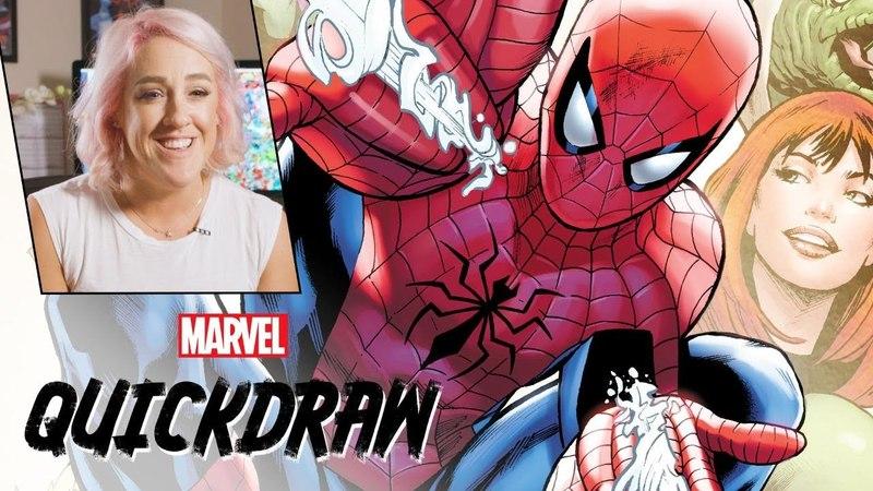 Artist Rachelle Rosenberg colors Spider-Man | Marvel Quickdraw