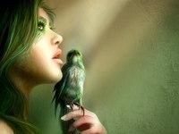 Символ свободы - птица - отражает стремление девушки быть выше реального мира.