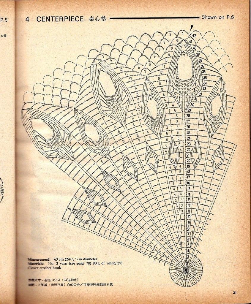 Вязание крючком салфетки павлинье перо 1 часть