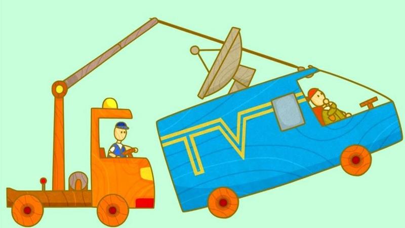 Dessin animé pour enfants de voitures Passage à niveau
