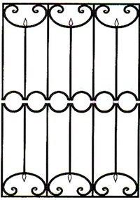Кованая решетка артикул №07 чертеж изготовление по размерам на заказ