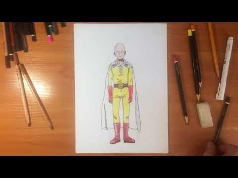 Сайтама - рисунок цветными карандашами | OnePunch-Man
