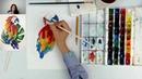 Бесплатный мастер-класс по иллюстрации акварелью Попугай Ара