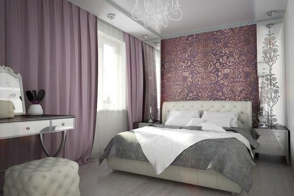 белая кожаная кровать в интерьере спальни, фото