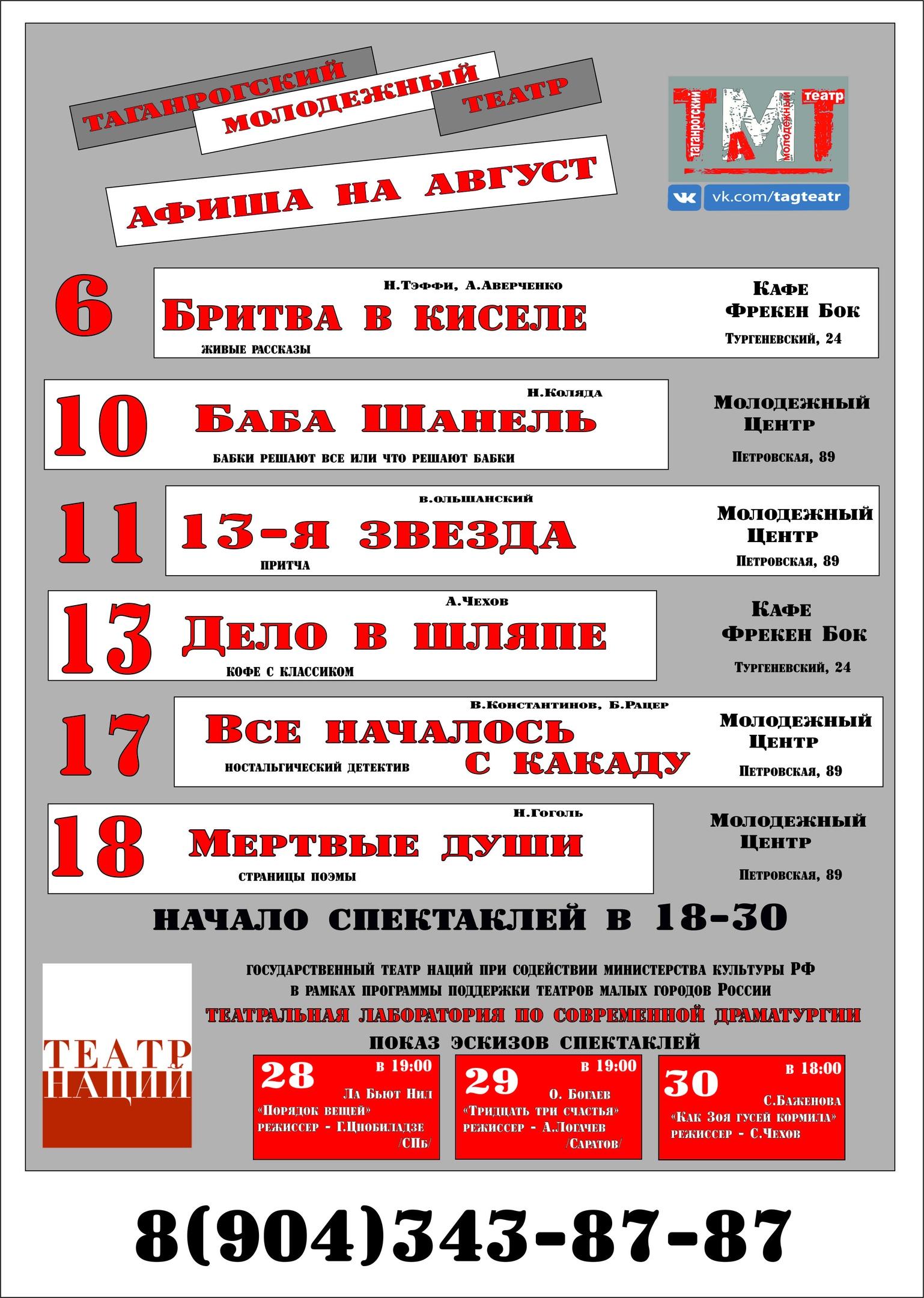 Спектакли в АВГУТЕ. Молодежный театр Нонны Малыгиной