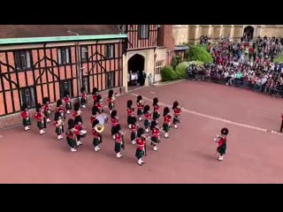 The band of the royal regiment of scotland celebrated the arrival of the duke and duchess of sussex's baby in windsor by playing