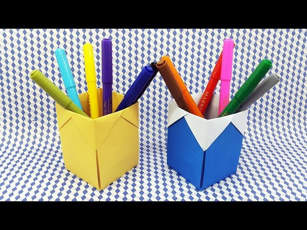 How To Make Pen Holder With Paper - Origami Pen Stand Making - DIY Paper Pencil Holder Easy