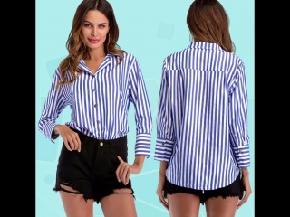 Striped women blouse turn down collar office ladies work wear